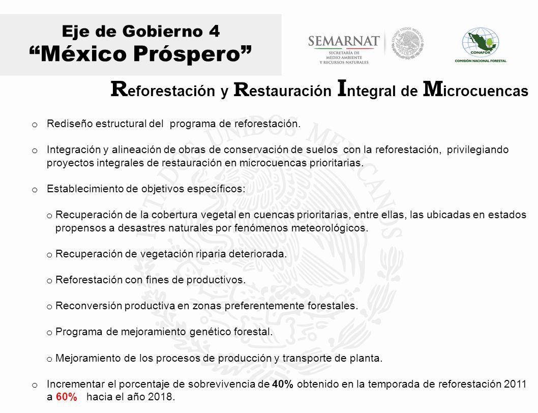 Eje de Gobierno 4 México Próspero o Rediseño estructural del programa de reforestación. o Integración y alineación de obras de conservación de suelos