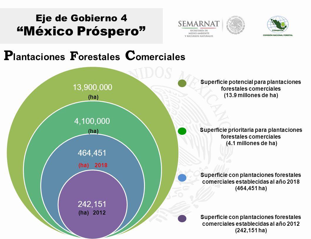 Superficie prioritaria para plantaciones forestales comerciales (4.1 millones de ha) Superficie potencial para plantaciones forestales comerciales (13