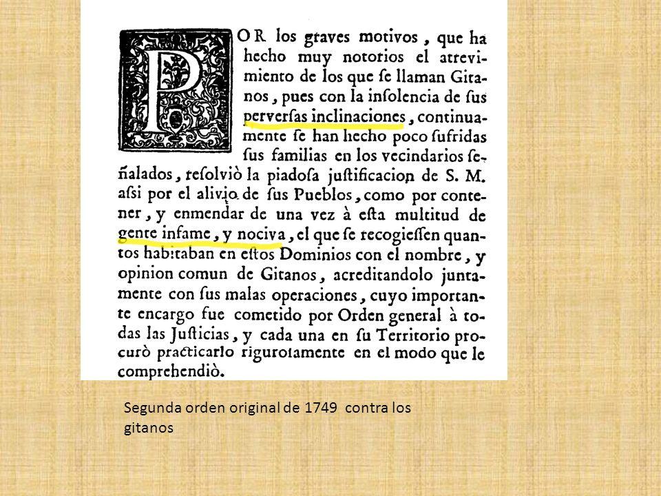 Segunda orden original de 1749 contra los gitanos