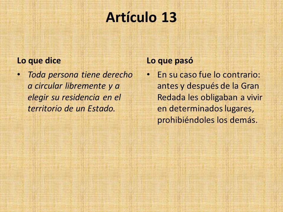 Artículo 13 Lo que dice Toda persona tiene derecho a circular libremente y a elegir su residencia en el territorio de un Estado.