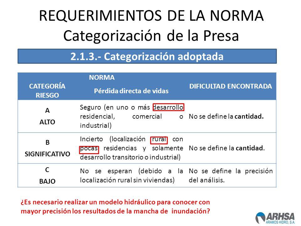 REQUERIMIENTOS DE LA NORMA Categorización de la Presa NORMA DIFICULTAD ENCONTRADA CATEGORÍA Pérdida directa de vidas RIESGO A ALTO Seguro (en uno o má