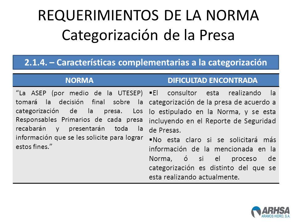 REQUERIMIENTOS DE LA NORMA Categorización de la Presa NORMADIFICULTAD ENCONTRADA La ASEP (por medio de la UTESEP) tomará la decisión final sobre la ca