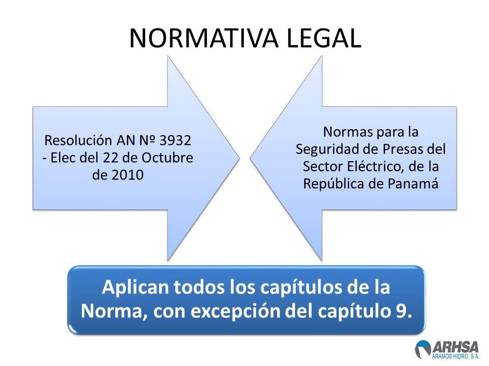 NORMATIVA LEGAL Resolución AN Nº 3932 - Elec del 22 de Octubre de 2010 Normas para la Seguridad de Presas del Sector Eléctrico, de la República de Pan