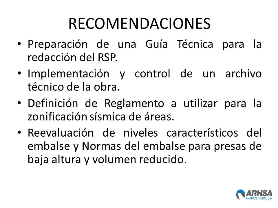 RECOMENDACIONES Preparación de una Guía Técnica para la redacción del RSP. Implementación y control de un archivo técnico de la obra. Definición de Re