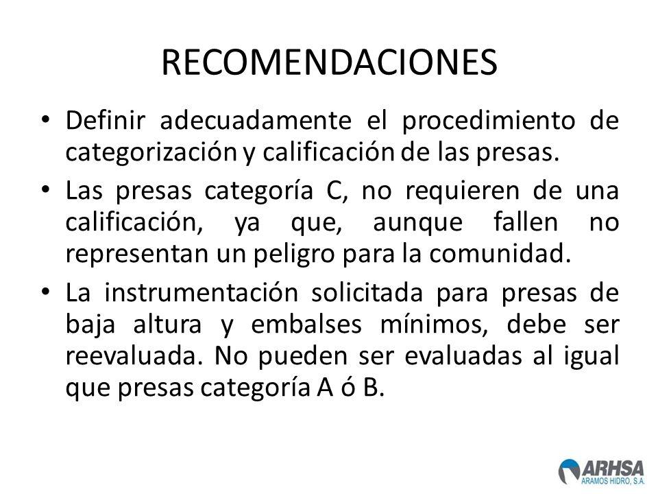 RECOMENDACIONES Definir adecuadamente el procedimiento de categorización y calificación de las presas. Las presas categoría C, no requieren de una cal