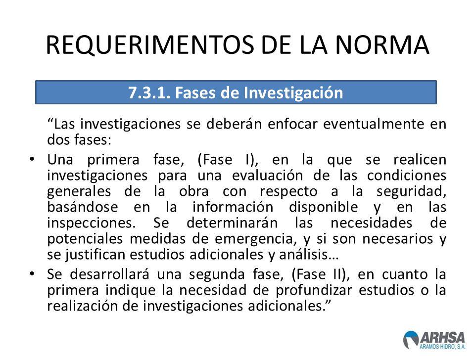 REQUERIMENTOS DE LA NORMA Las investigaciones se deberán enfocar eventualmente en dos fases: Una primera fase, (Fase I), en la que se realicen investi