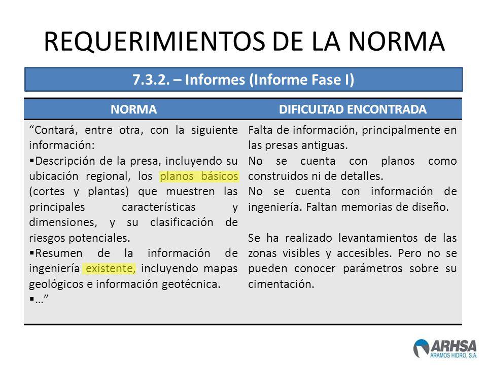 REQUERIMIENTOS DE LA NORMA NORMADIFICULTAD ENCONTRADA Contará, entre otra, con la siguiente información: Descripción de la presa, incluyendo su ubicac