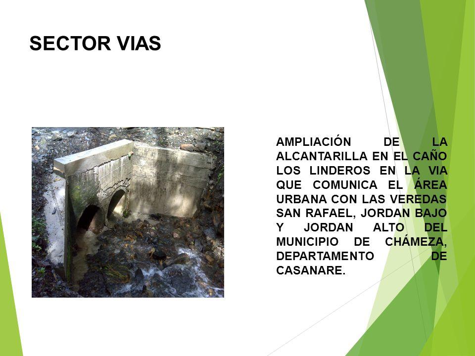 SECTOR VIAS AMPLIACIÓN DE LA ALCANTARILLA EN EL CAÑO LOS LINDEROS EN LA VIA QUE COMUNICA EL ÁREA URBANA CON LAS VEREDAS SAN RAFAEL, JORDAN BAJO Y JORDAN ALTO DEL MUNICIPIO DE CHÁMEZA, DEPARTAMENTO DE CASANARE.