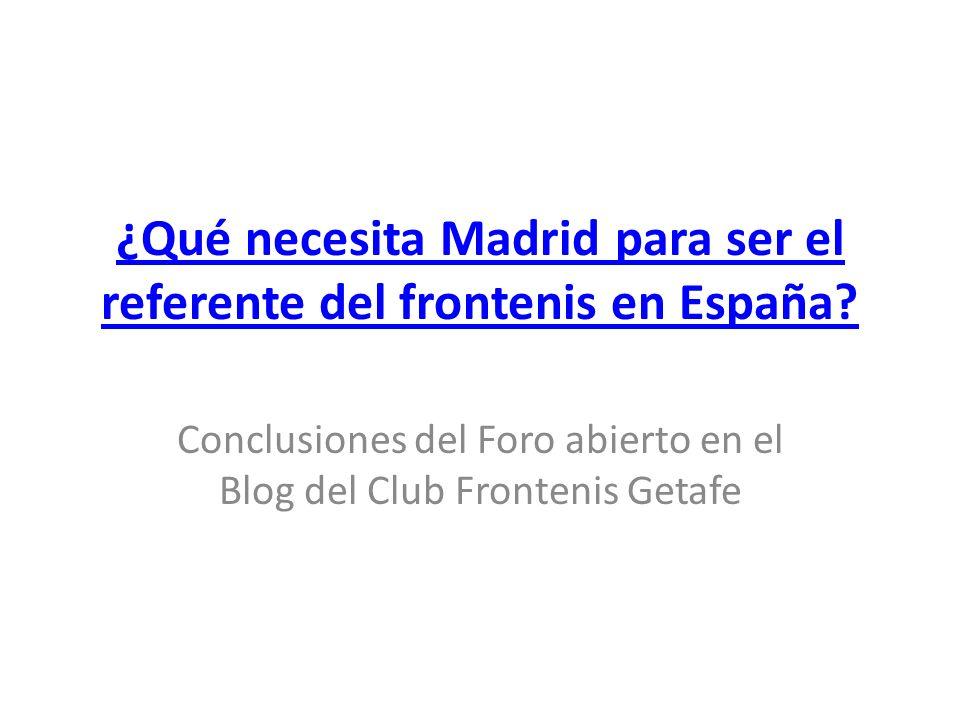 ¿Qué necesita Madrid para ser el referente del frontenis en España.