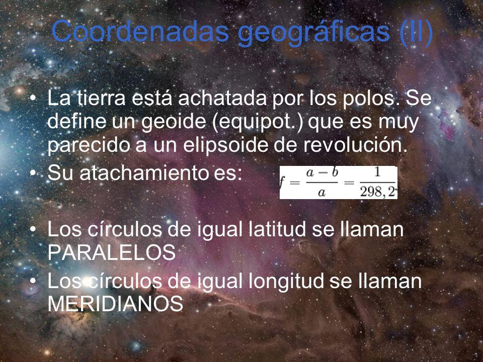 Coordenadas geográficas (II) La tierra está achatada por los polos.