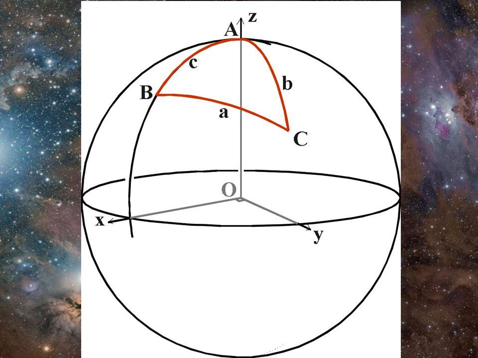 Ley del seno y del coseno –Ley del seno sin(a)/sin(A) = sin(b)/sin(B) = sin(c)/sin(C) –Ley del coseno cos(a) = cos(b) cos(c) + sin(b) sin(c) cos(A) cos(b) = cos(c) cos(a) + sin(c) sin(a) cos(B) cos(c) = cos(a) cos(b) + sin(a) sin(b) cos(C)