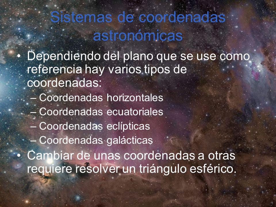 Sistemas de coordenadas astronómicas Dependiendo del plano que se use como referencia hay varios tipos de coordenadas: –Coordenadas horizontales –Coordenadas ecuatoriales –Coordenadas eclípticas –Coordenadas galácticas Cambiar de unas coordenadas a otras requiere resolver un triángulo esférico.