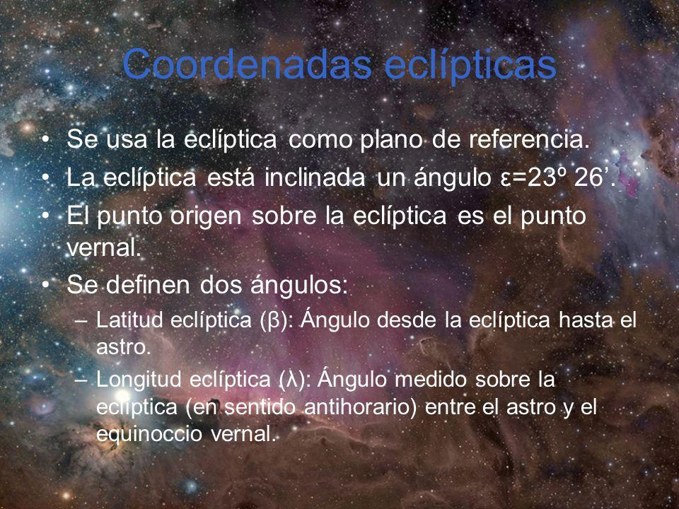Coordenadas eclípticas Se usa la eclíptica como plano de referencia.