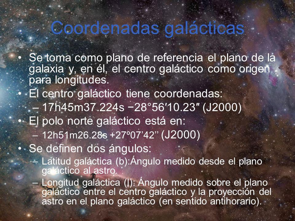 Coordenadas galácticas Se toma como plano de referencia el plano de la galaxia y, en él, el centro galáctico como origen para longitudes.