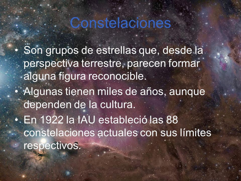 Constelaciones Son grupos de estrellas que, desde la perspectiva terrestre, parecen formar alguna figura reconocible.