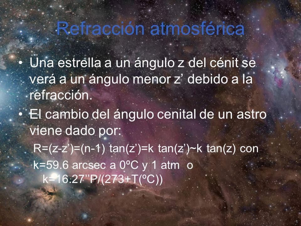 Refracción atmosférica Una estrella a un ángulo z del cénit se verá a un ángulo menor z debido a la refracción.