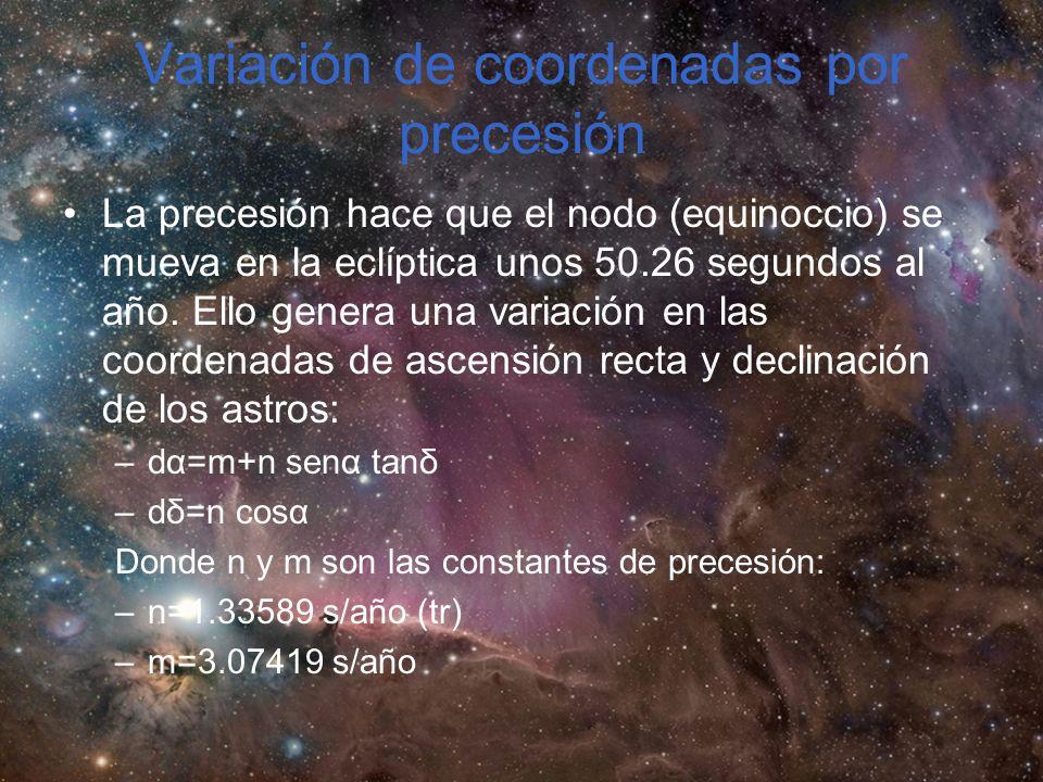 Variación de coordenadas por precesión La precesión hace que el nodo (equinoccio) se mueva en la eclíptica unos 50.26 segundos al año.