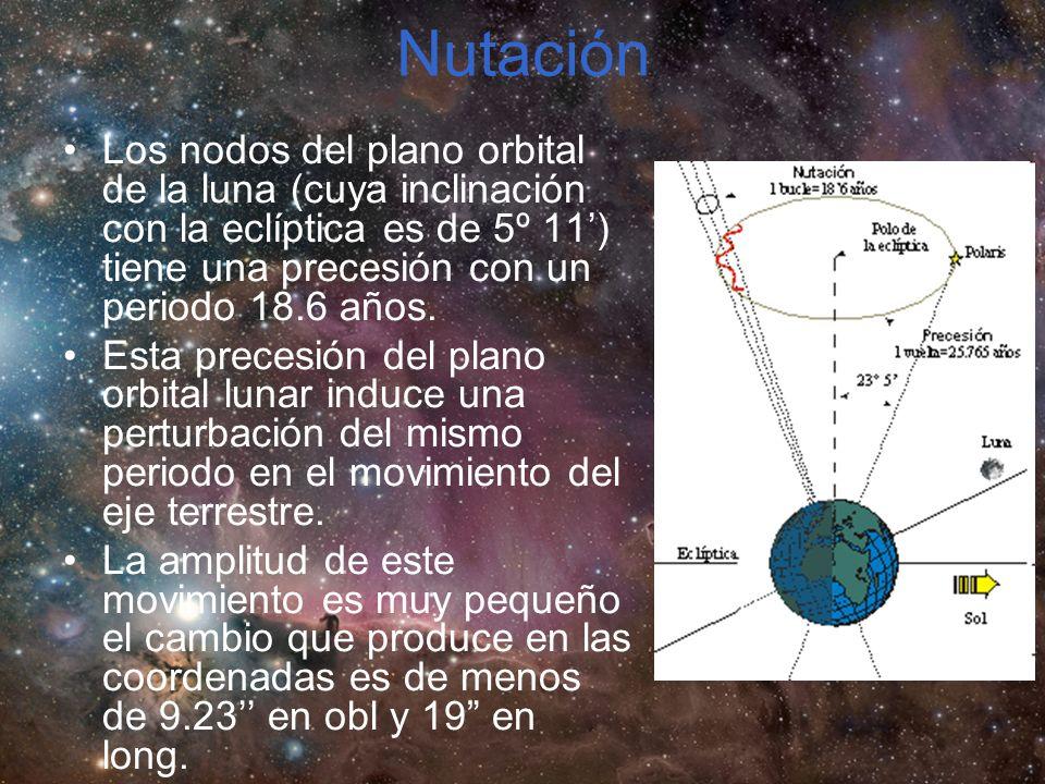 Nutación Los nodos del plano orbital de la luna (cuya inclinación con la eclíptica es de 5º 11) tiene una precesión con un periodo 18.6 años.