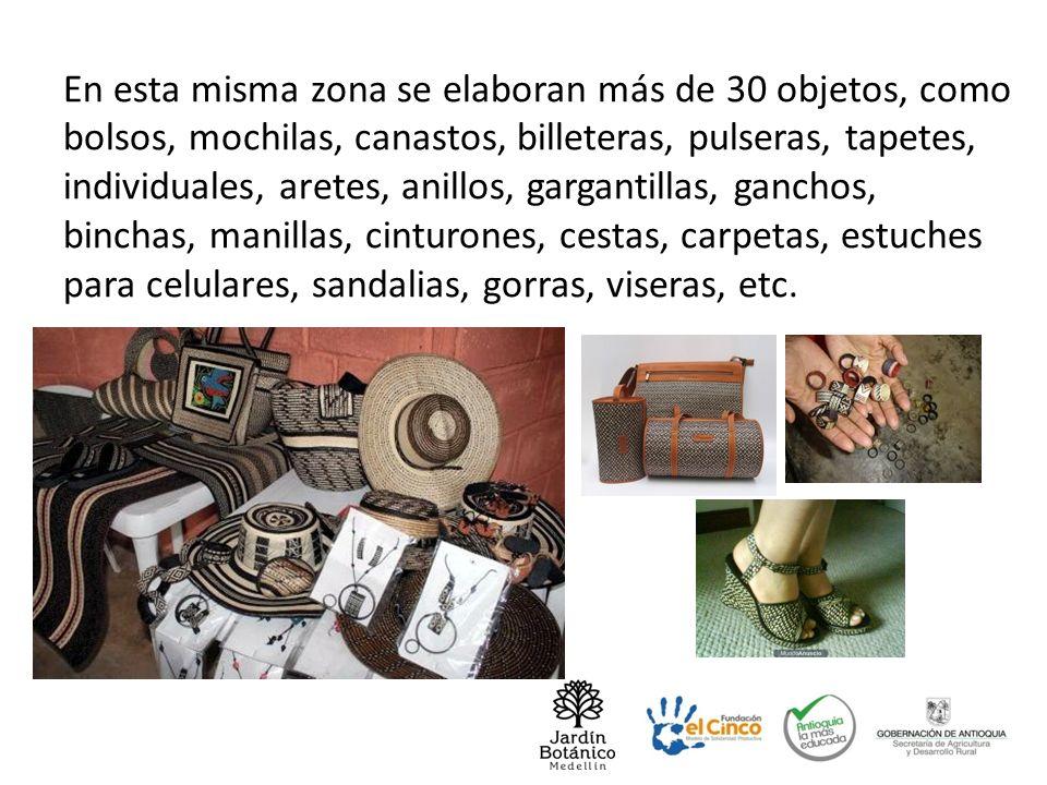 En esta misma zona se elaboran más de 30 objetos, como bolsos, mochilas, canastos, billeteras, pulseras, tapetes, individuales, aretes, anillos, garga