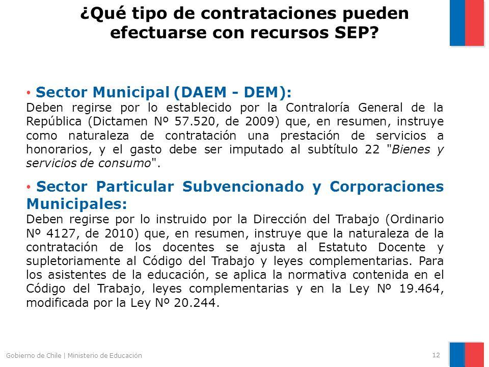 Gobierno de Chile | Ministerio de Educación Sector Municipal (DAEM - DEM): Deben regirse por lo establecido por la Contraloría General de la República