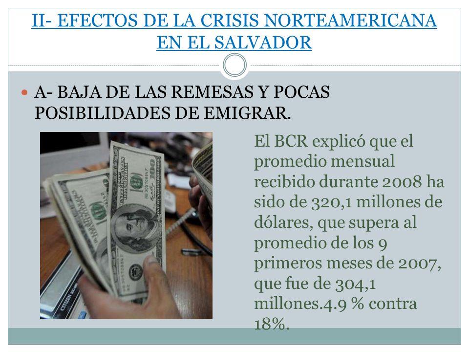 II- EFECTOS DE LA CRISIS NORTEAMERICANA EN EL SALVADOR A- BAJA DE LAS REMESAS Y POCAS POSIBILIDADES DE EMIGRAR.