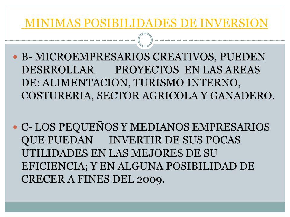 MINIMAS POSIBILIDADES DE INVERSION B- MICROEMPRESARIOS CREATIVOS, PUEDEN DESRROLLAR PROYECTOS EN LAS AREAS DE: ALIMENTACION, TURISMO INTERNO, COSTURERIA, SECTOR AGRICOLA Y GANADERO.