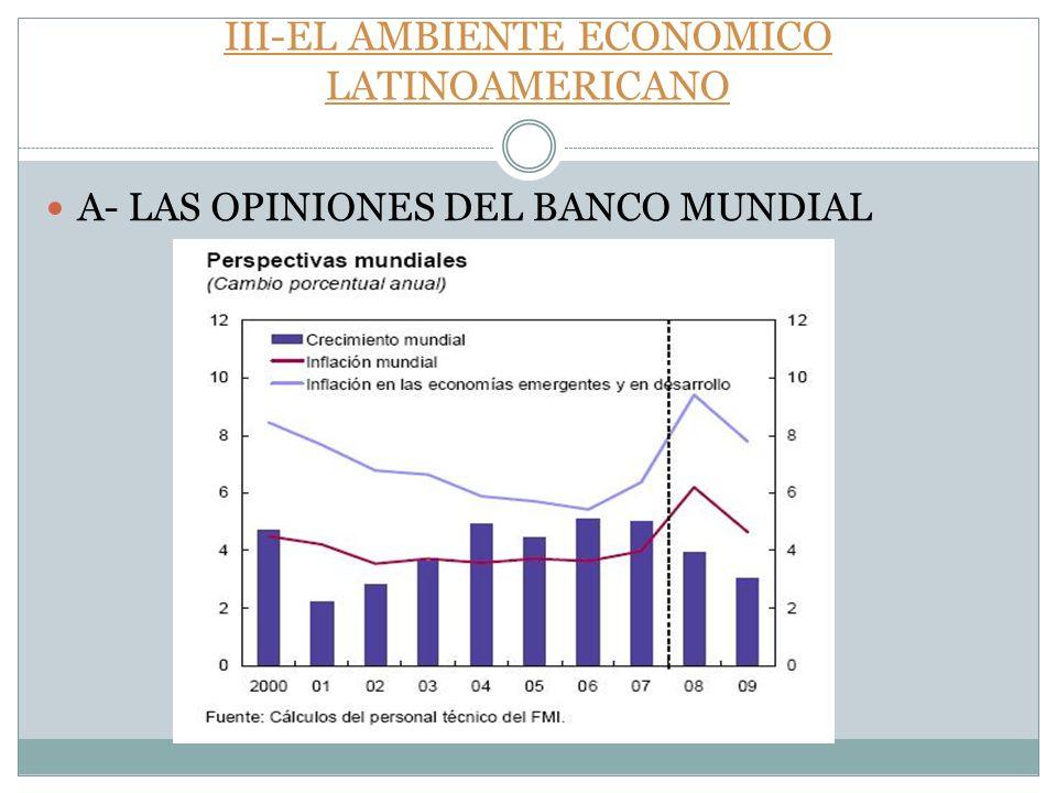 III-EL AMBIENTE ECONOMICO LATINOAMERICANO A- LAS OPINIONES DEL BANCO MUNDIAL