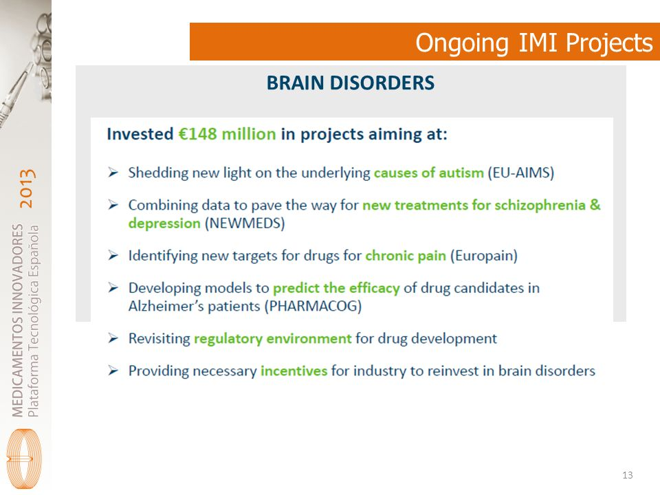 2013 Ongoing IMI Projects 13 BRAIN DISORDERS