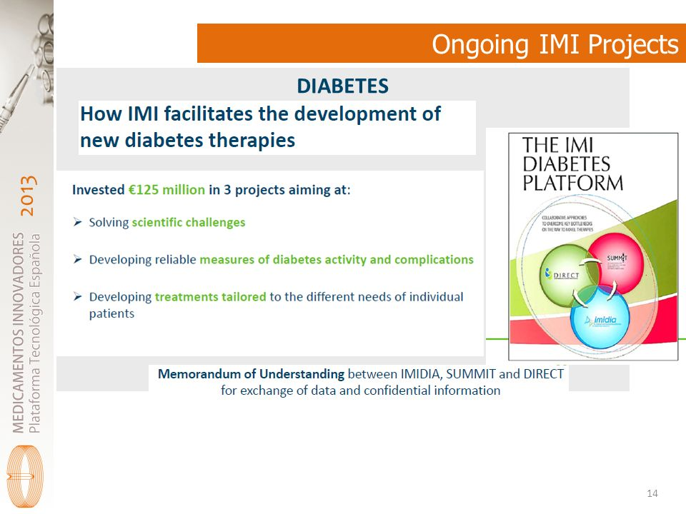 2013 Ongoing IMI Projects 14 DIABETES