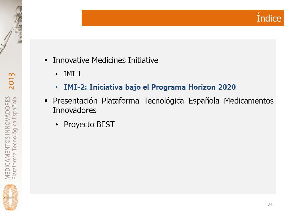 2013 Índice Innovative Medicines Initiative IMI-1 IMI-2: Iniciativa bajo el Programa Horizon 2020 Presentación Plataforma Tecnológica Española Medicamentos Innovadores Proyecto BEST 24