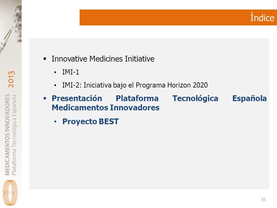 2013 Índice Innovative Medicines Initiative IMI-1 IMI-2: Iniciativa bajo el Programa Horizon 2020 Presentación Plataforma Tecnológica Española Medicamentos Innovadores Proyecto BEST 35