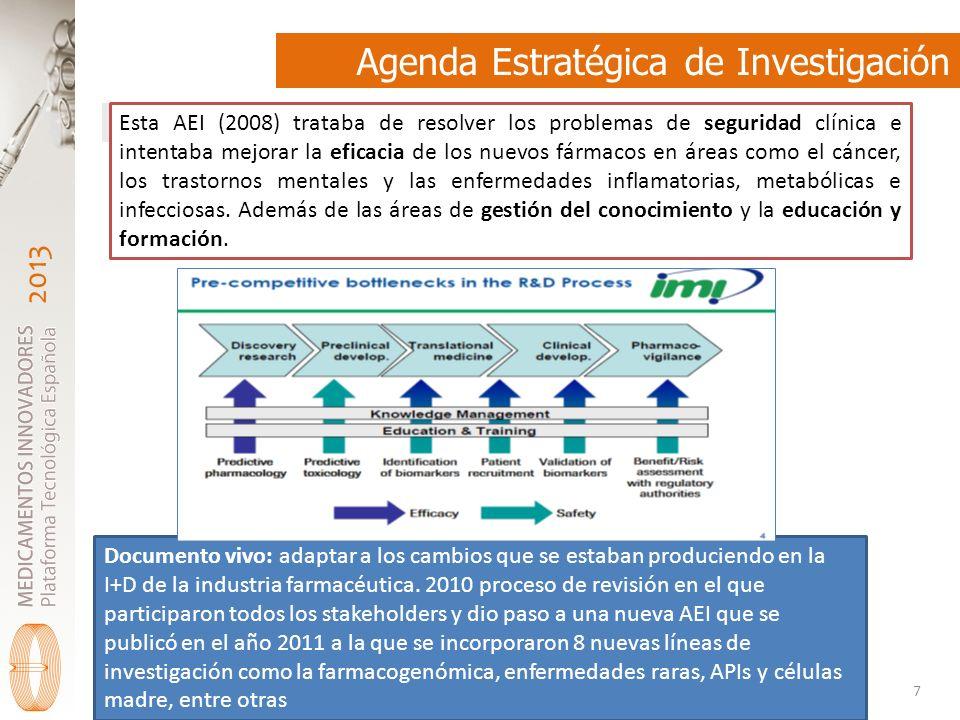 2013 Agenda Estratégica de Investigación 7 Esta AEI (2008) trataba de resolver los problemas de seguridad clínica e intentaba mejorar la eficacia de los nuevos fármacos en áreas como el cáncer, los trastornos mentales y las enfermedades inflamatorias, metabólicas e infecciosas.