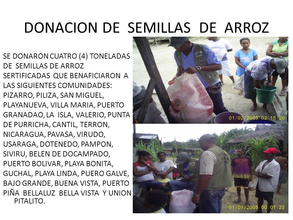 DONACION DE SEMILLAS DE ARROZ SE DONARON CUATRO (4) TONELADAS DE SEMILLAS DE ARROZ SERTIFICADAS QUE BENAFICIARON A LAS SIGUIENTES COMUNIDADES: PIZARRO