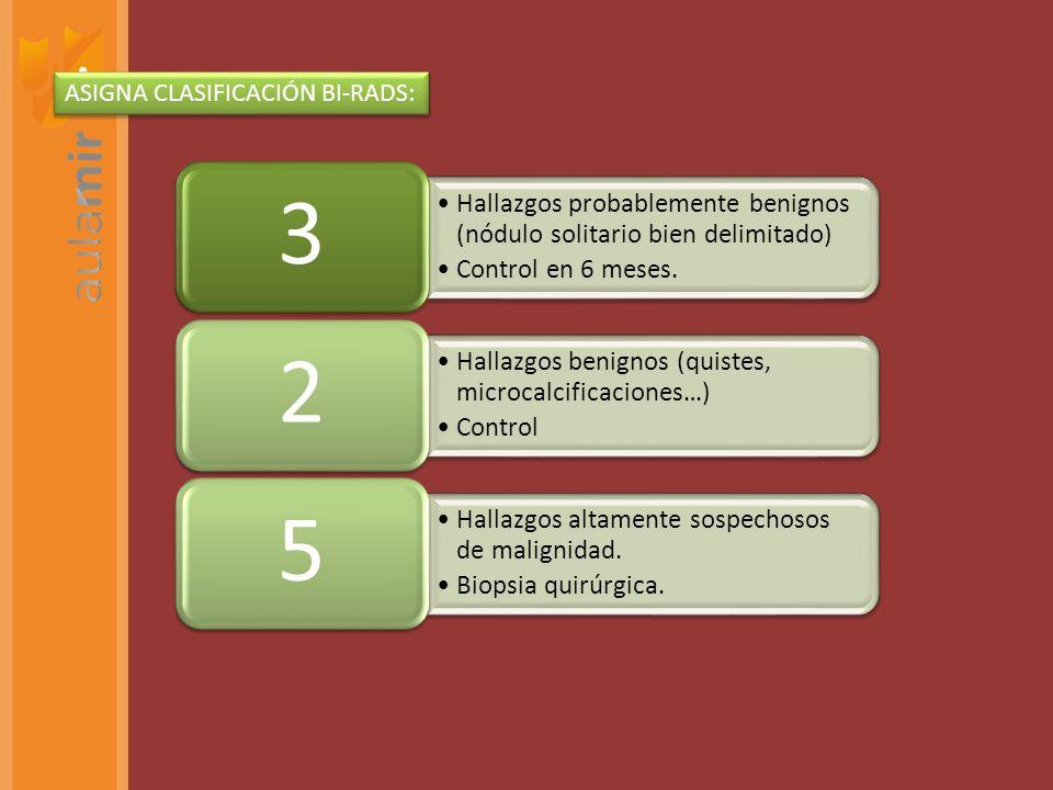 ASIGNA CLASIFICACIÓN BI-RADS:
