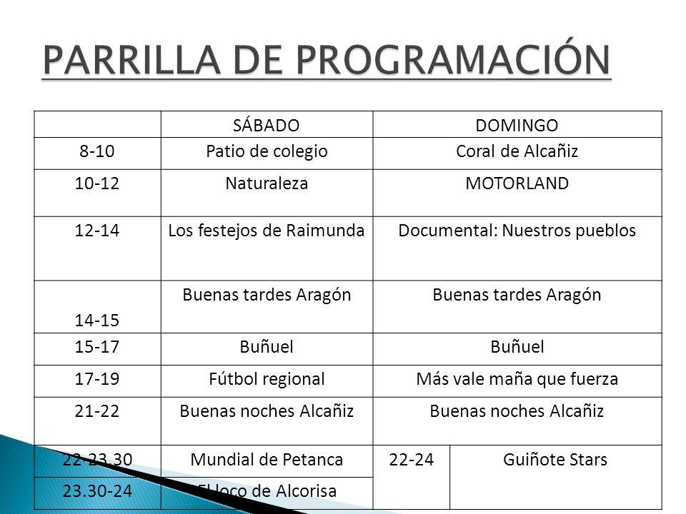 SÁBADODOMINGO 8-10Patio de colegioCoral de Alcañiz 10-12NaturalezaMOTORLAND 12-14Los festejos de RaimundaDocumental: Nuestros pueblos 14-15 Buenas tar