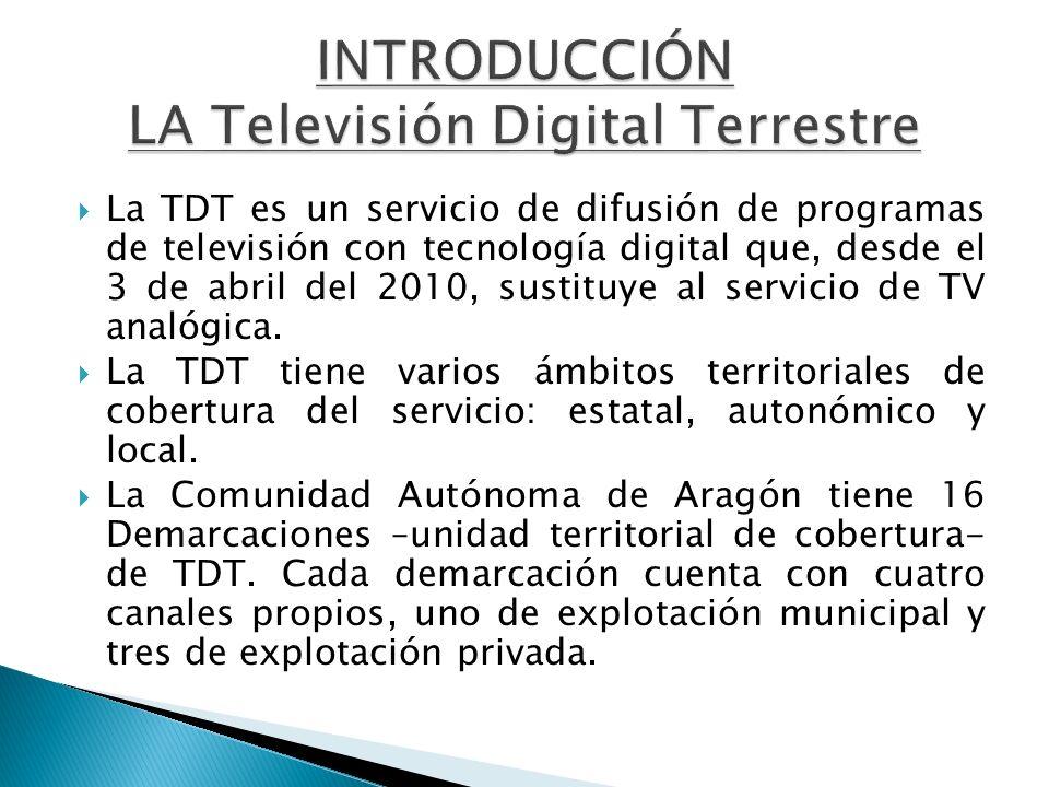 La TDT es un servicio de difusión de programas de televisión con tecnología digital que, desde el 3 de abril del 2010, sustituye al servicio de TV ana