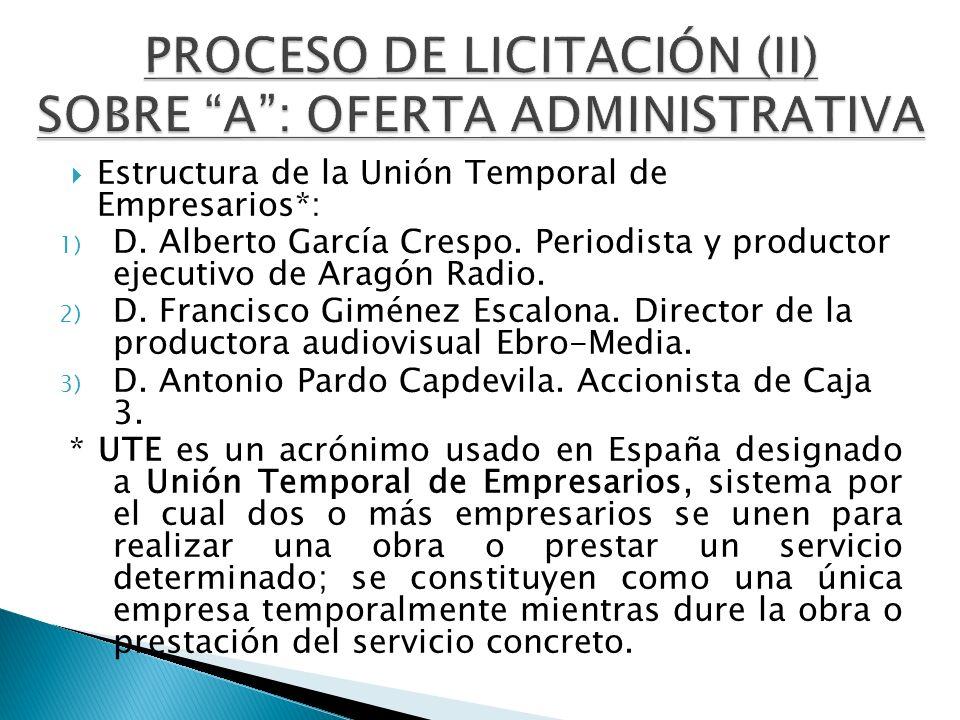 Estructura de la Unión Temporal de Empresarios*: 1) D. Alberto García Crespo. Periodista y productor ejecutivo de Aragón Radio. 2) D. Francisco Giméne