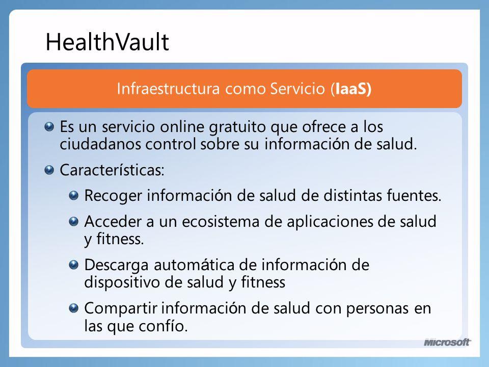 Infraestructura como Servicio (IaaS) Es un servicio online gratuito que ofrece a los ciudadanos control sobre su informaci ó n de salud.