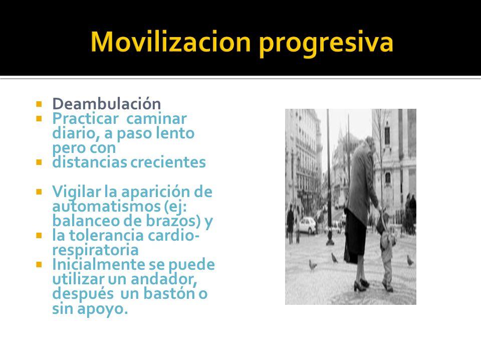 Deambulación Practicar caminar diario, a paso lento pero con distancias crecientes Vigilar la aparición de automatismos (ej: balanceo de brazos) y la