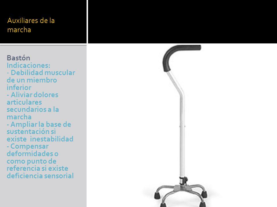 Auxiliares de la marcha Bastón Indicaciones: - Debilidad muscular de un miembro inferior - Aliviar dolores articulares secundarios a la marcha - Ampli
