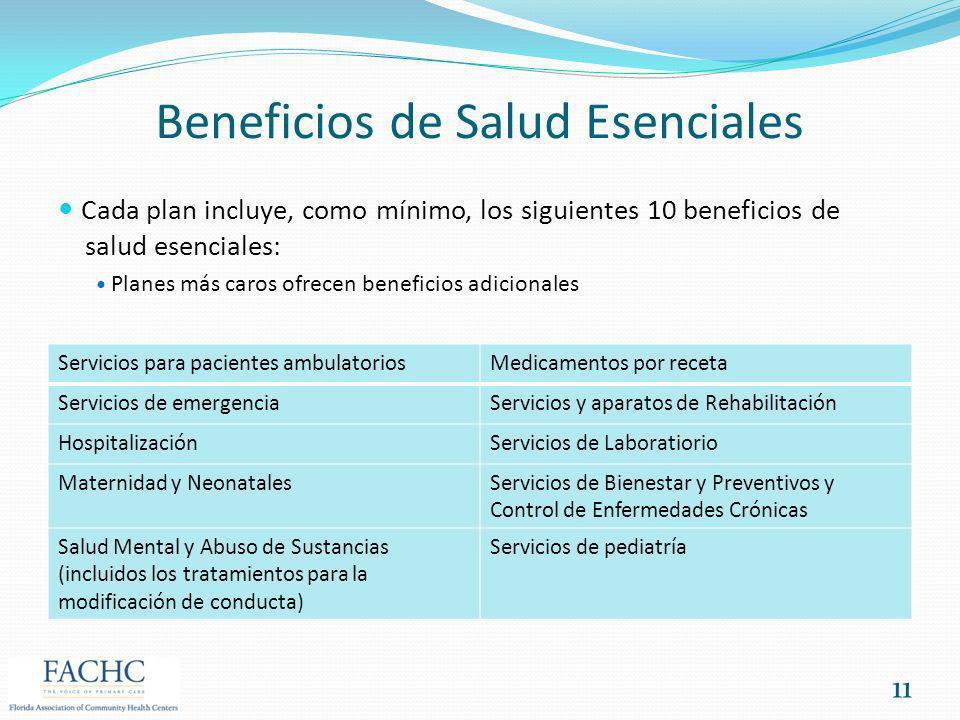 Beneficios de Salud Esenciales Cada plan incluye, como mínimo, los siguientes 10 beneficios de salud esenciales: Planes más caros ofrecen beneficios a