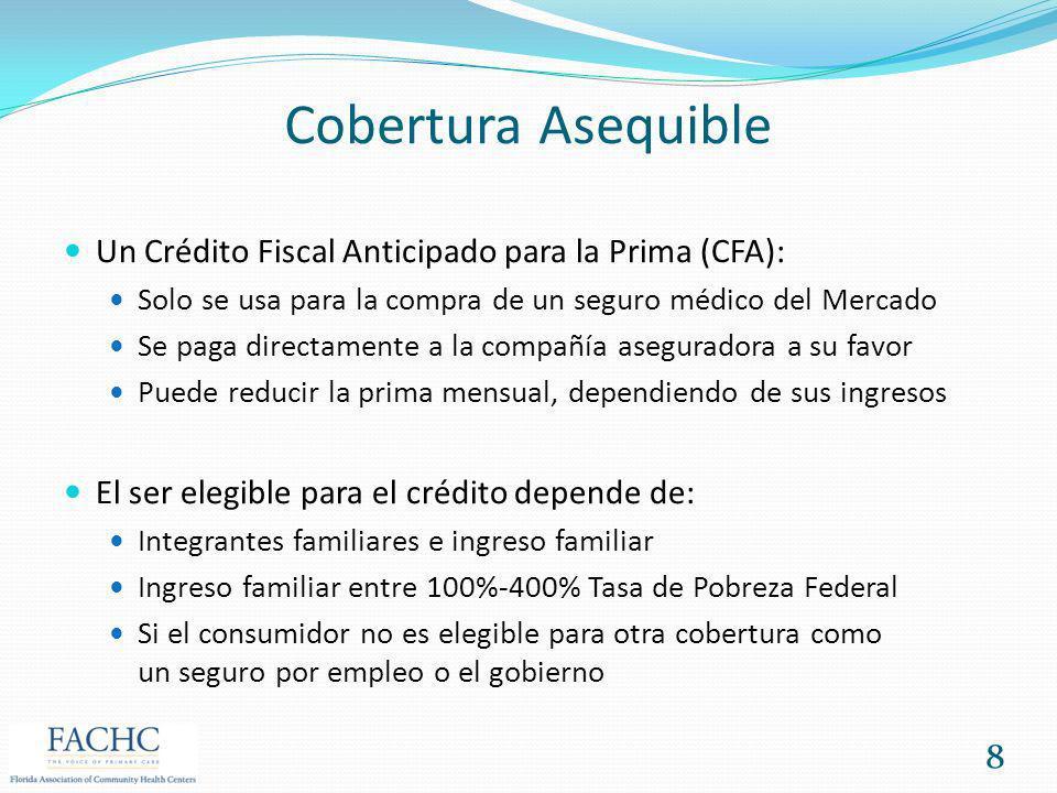 Cobertura Asequible Un Crédito Fiscal Anticipado para la Prima (CFA): Solo se usa para la compra de un seguro médico del Mercado Se paga directamente