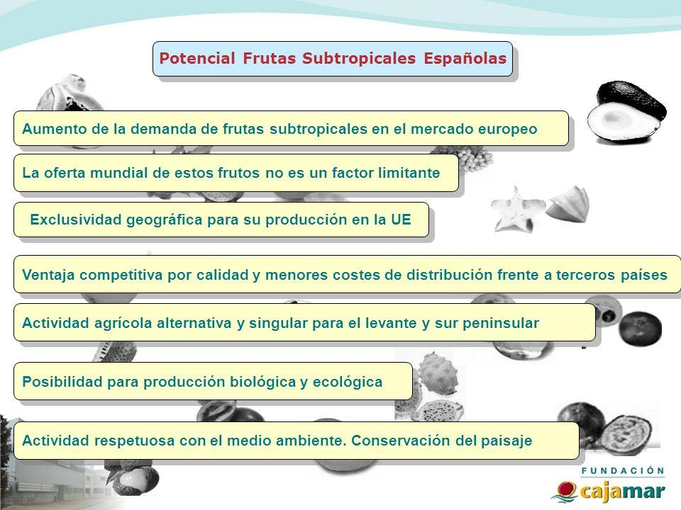 Aumento de la demanda de frutas subtropicales en el mercado europeo Potencial Frutas Subtropicales Españolas Ventaja competitiva por calidad y menores