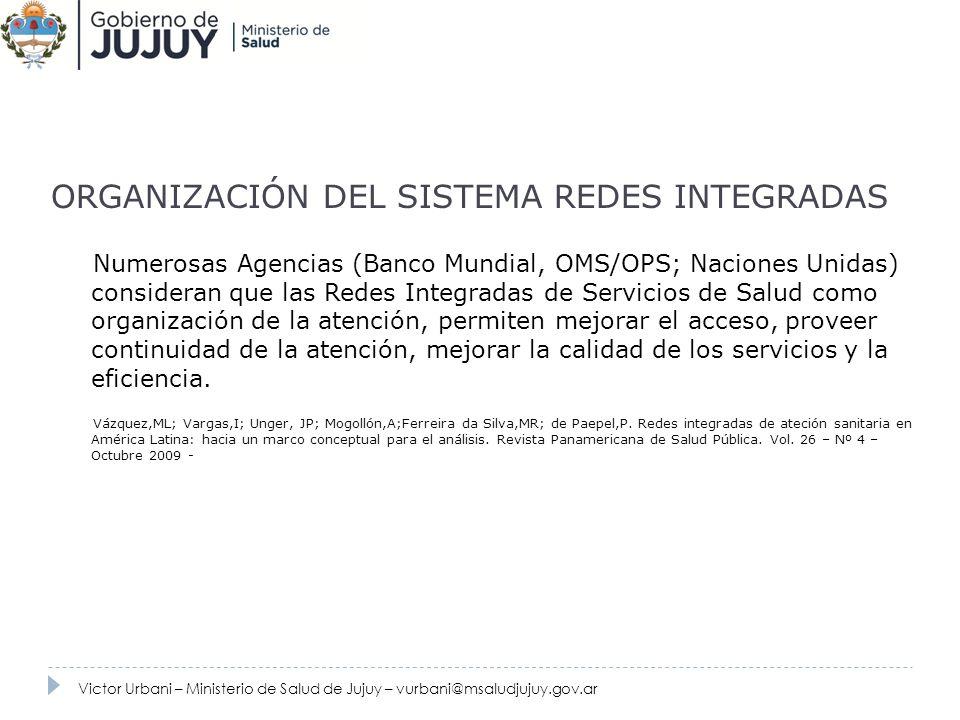 ORGANIZACIÓN DEL SISTEMA REDES INTEGRADAS Numerosas Agencias (Banco Mundial, OMS/OPS; Naciones Unidas) consideran que las Redes Integradas de Servicio