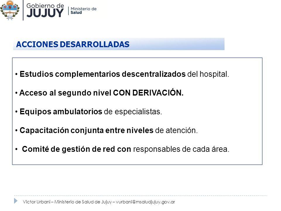 Estudios complementarios descentralizados del hospital. Acceso al segundo nivel CON DERIVACIÓN. Equipos ambulatorios de especialistas. Capacitación co