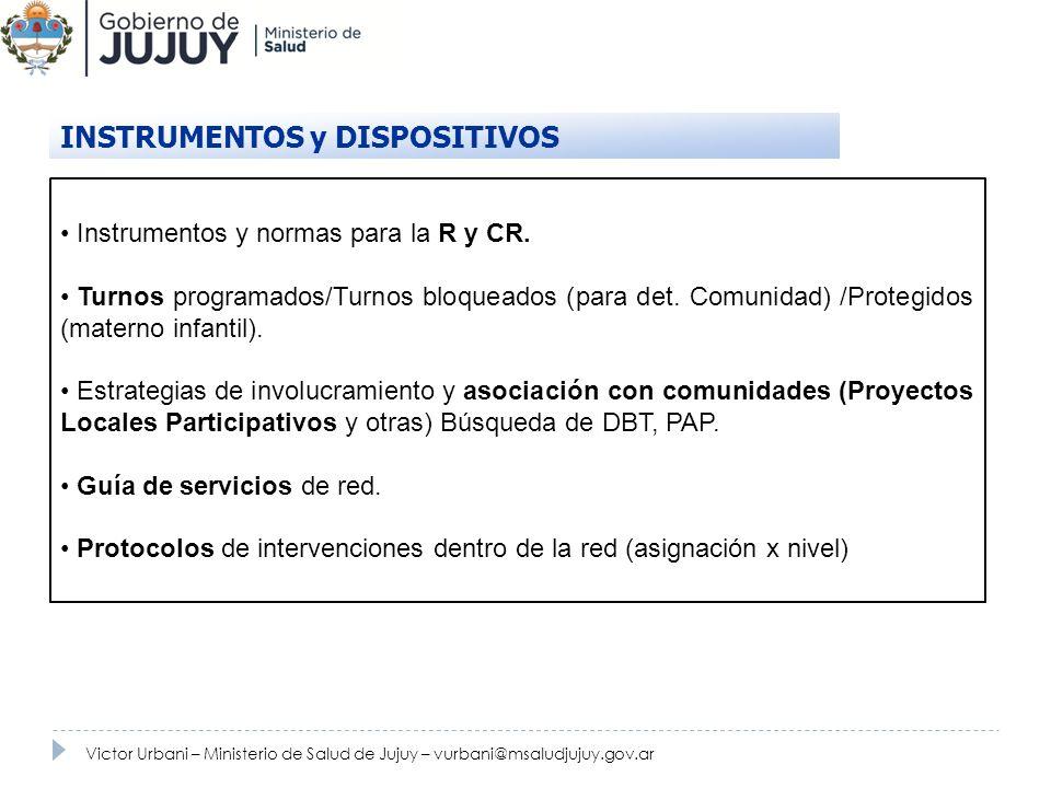 Instrumentos y normas para la R y CR. Turnos programados/Turnos bloqueados (para det. Comunidad) /Protegidos (materno infantil). Estrategias de involu