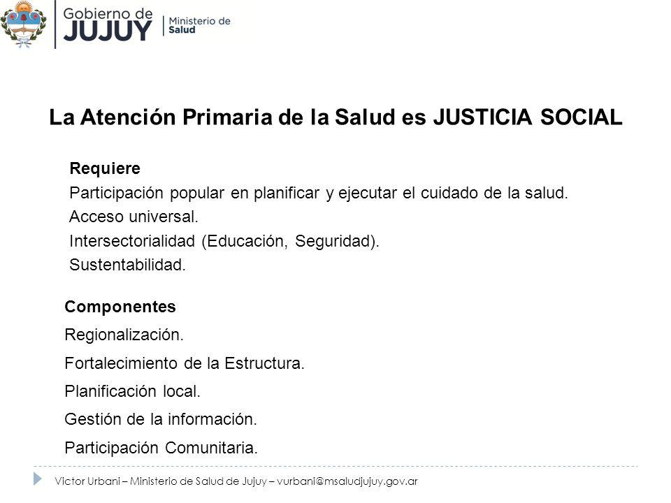 144.000 habitantes 9 Hospitales 9 Areas Programaticas 70 Caps Victor Urbani – Ministerio de Salud de Jujuy – vurbani@msaludjujuy.gov.ar Zona seleccionada