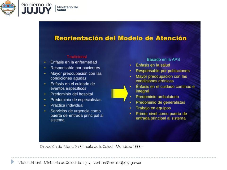 Victor Urbani – Ministerio de Salud de Jujuy – vurbani@msaludjujuy.gov.ar Dirección de Atención Primaria de la Salud – Mendoza 1998 –