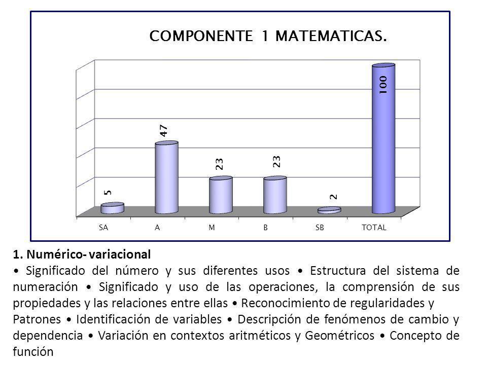 1. Numérico- variacional Significado del número y sus diferentes usos Estructura del sistema de numeración Significado y uso de las operaciones, la co