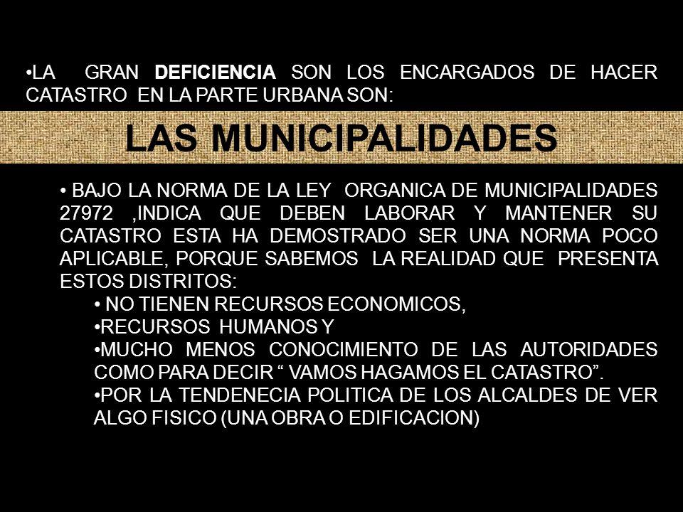 LA GRAN DEFICIENCIA SON LOS ENCARGADOS DE HACER CATASTRO EN LA PARTE URBANA SON: BAJO LA NORMA DE LA LEY ORGANICA DE MUNICIPALIDADES 27972,INDICA QUE DEBEN LABORAR Y MANTENER SU CATASTRO ESTA HA DEMOSTRADO SER UNA NORMA POCO APLICABLE, PORQUE SABEMOS LA REALIDAD QUE PRESENTA ESTOS DISTRITOS: NO TIENEN RECURSOS ECONOMICOS, RECURSOS HUMANOS Y MUCHO MENOS CONOCIMIENTO DE LAS AUTORIDADES COMO PARA DECIR VAMOS HAGAMOS EL CATASTRO.